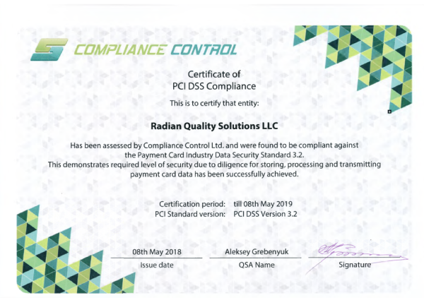 Radian Quality Solutions Certificate of PCI DSS Compliance
